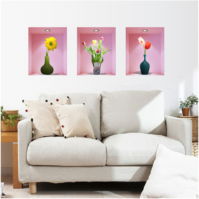 Flower Vase Floral Wall Stickers Bedroom Living Room Decoration 3D Decals DIY Home Design Decor