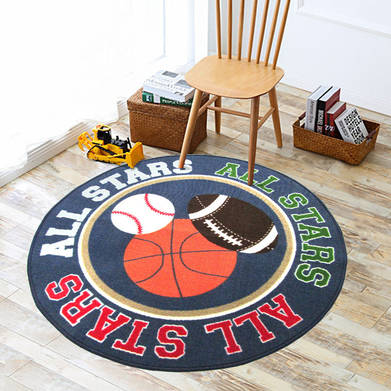 Round Kids Rug with Sports Balls Printed Carpet for Kids Bedroom Round Playing Crawling Pad 39 Diameter Round Floor Mat
