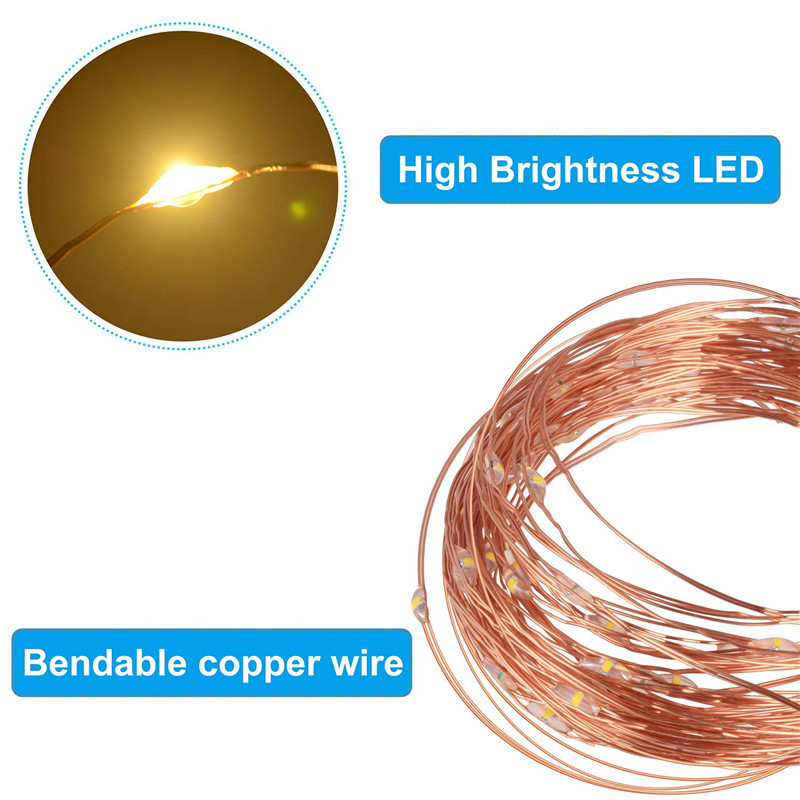 Festive outdoor copper string light 10m 20m remote control timing battery USB garden light for party Christmas decoration 4