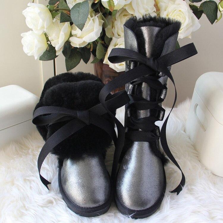 Nieuwe Top Kwaliteit Echt Schapenleer Vrouwen Snowboots Fashion Lace up Winter Laarzen 100% Natuurlijke Bont Wol Vrouwen Lange laarzen-in Driekwart Laarsjes van Schoenen op  Groep 1