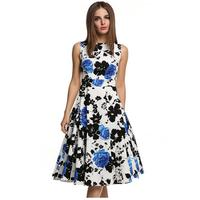 Womens Elegant Vintage Floral Flower Print Tunic Work Office Casual Fit and Flare Party A Line Skater Dress G27