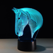 3D illusion Visual Horse 3D Printing LED Night Light 7 Colors Change LED  Desk Lamp Bedroom 26a3bdaf96a0