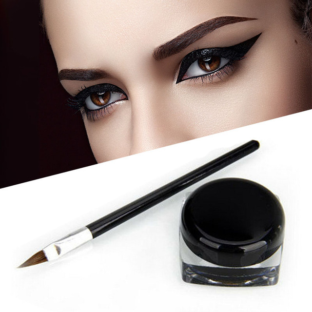 Cosmetic Waterproof Eye Liner Pencil Make Up black Liquid Eyeliner Shadow Gel Makeup + Brush Black maquiagem Free Shipping