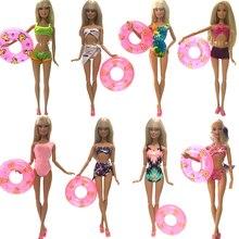 NK Doll Swimwear Beach Bathing Clothes Swimsuit+Slippers+ Swimming Buoy Lifebelt Ring For Barbie Doll Best Girl' Gift 007I