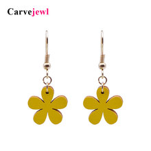 Carvejewl leather flower Drop Dangle Earrings For Women jewelry girl gift new fashion korean earrings plastic hook anti  allergy