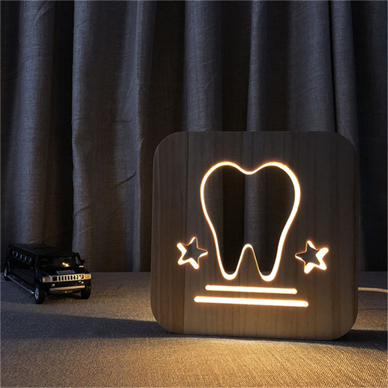 купить 3D Tooth Wooden Carving Decoration Night Lamp Baby Room as Sleeping Night lighting or Gift Decoration LED Table Lamp Drop Ship по цене 1520.16 рублей