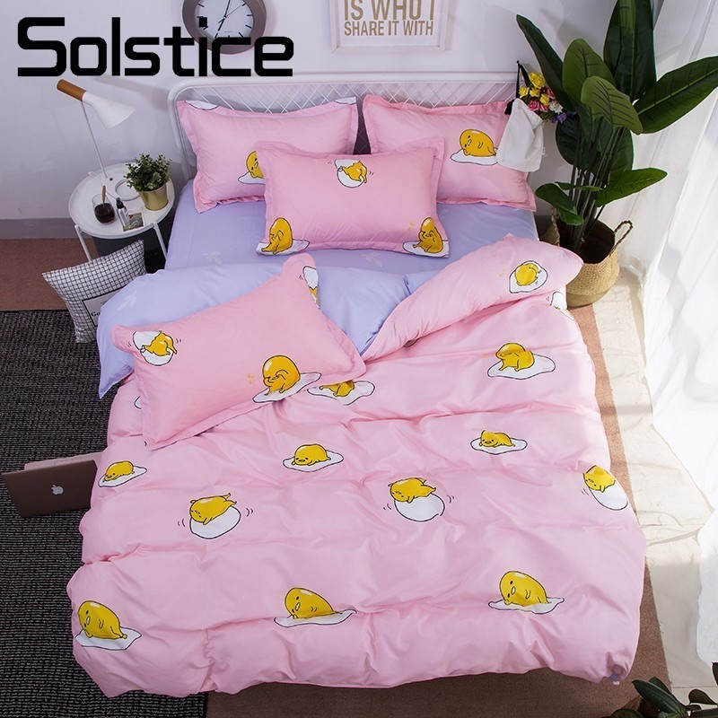 Solstice Home Textile Cartoon Fried Egg Kids Child Bedding Sets Light Pink Blue Duvet Cover Pillowcase Bed Sheet Girls Bed Linen