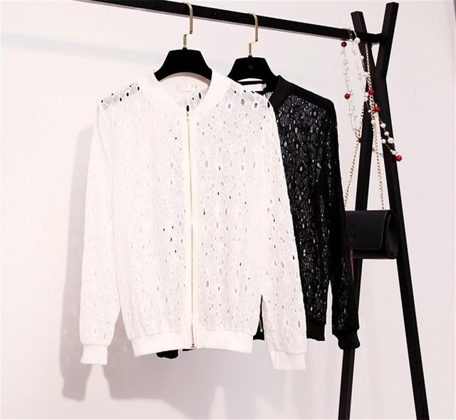 Women's 2018 Summer Long Sleeves Jacket Full Lace Short Sunscreen Thin Coat Hollow Out Female Jackets 1