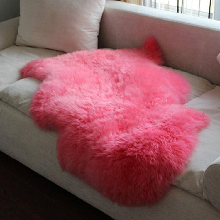 Merveilleux tapis en peau de mouton rose 60*90 cm Super beau tapis en peau de mouton véritable tapis de fenêtre de baie tapis de fourrure de mouton pour chambre décor à la maison