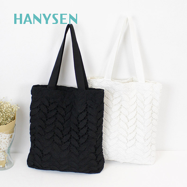 392f7d310f207 New Korean Women Simple Lace Shoulder Bag Canvas Large Shopping Tote Bag  Hollow Ladies Black And White Travel Casual Tote 2078