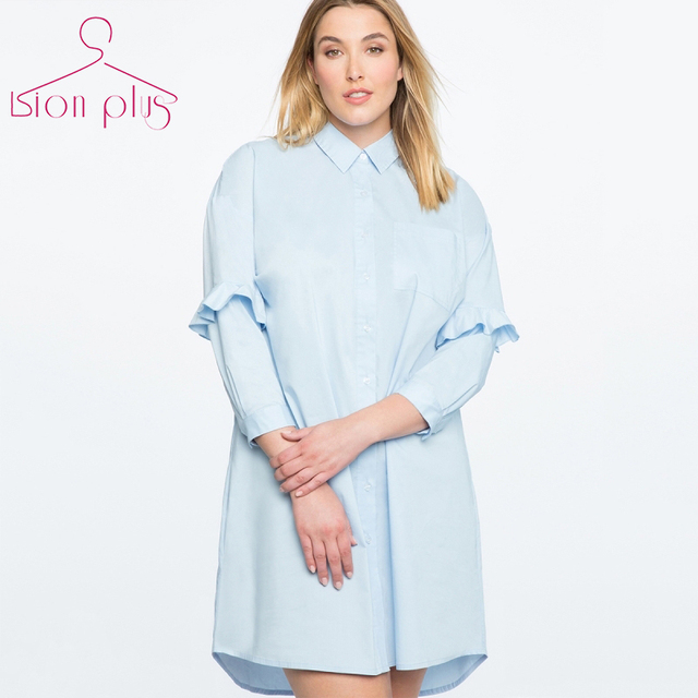 c6bb1e875c7 Sweet Plus Size Dresses Women 7XL 6XL 5XL 2018 Summer Sky Blue Square  Collar Single Button Shirt Dress Three Quarter Woman Dress
