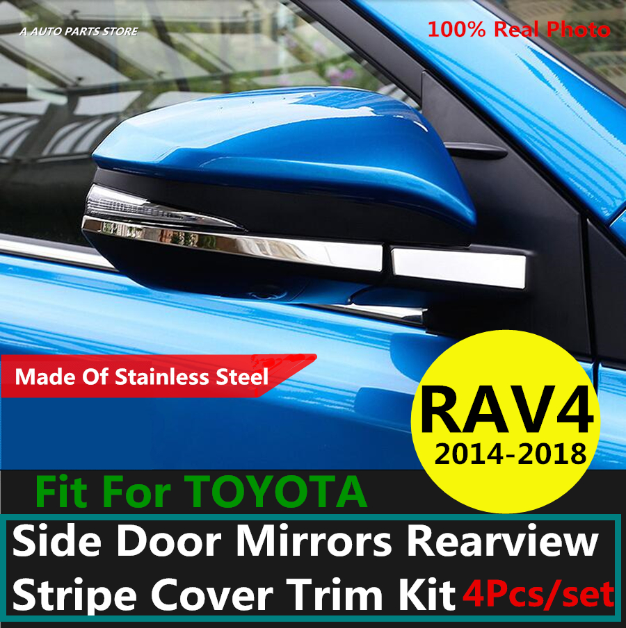 304 Stainless Steel For TOYOTA RAV4 <font><b>RAV</b></font> <font><b>4</b></font> <font><b>2014</b></font> 2015 2016 2017 2018 Side Door Mirrors Rearview Stripe Cover Trim Kit image