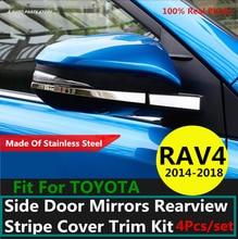 Acero inoxidable 304 para TOYOTA RAV4 RAV 4 2014 2015 2016 2017 2018 espejos de puerta lateral Kit de embellecedor de cubierta de rayas