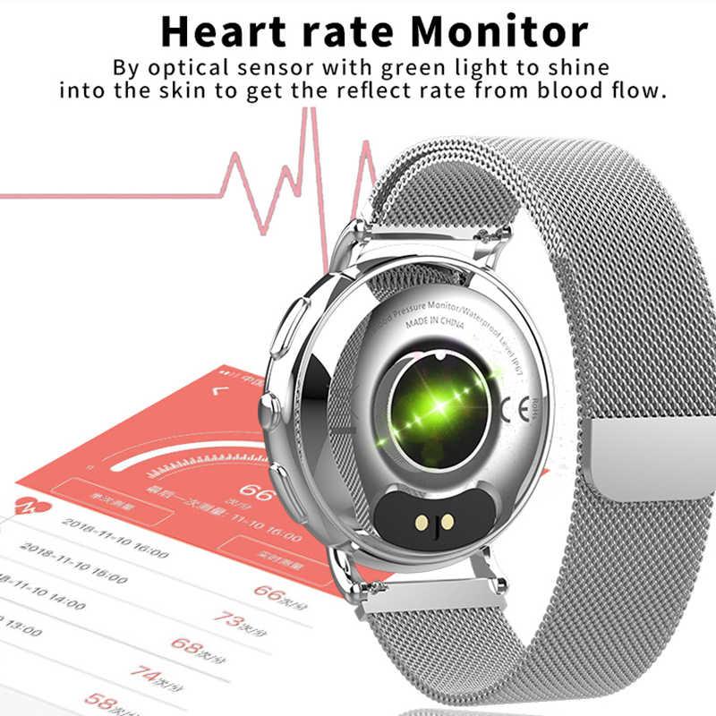 חכם שעון גברים נשים יוקרה ספורט דיגיטלי שעון נירוסטה תנועה להקליט לחץ דם הודעה Smartwatch עבור אנדרואיד ios