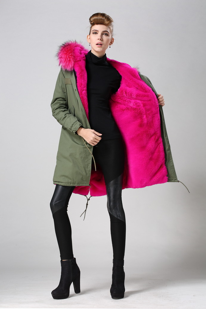 2015 hot pink women winter army green faux fur parka coat mr and ...