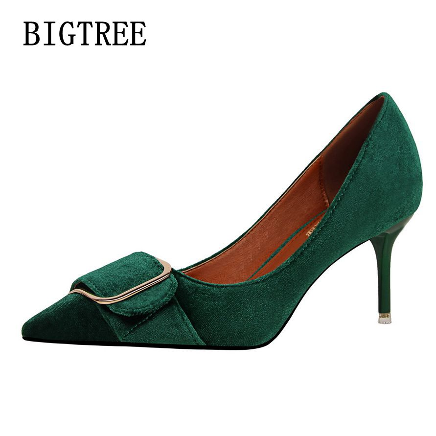 BIGTREE 2017 Spring new fashion women's shoes fine suede shallow mouth sexy pointed ladies shoes banquet high-heeled shoes 35-39 bigtree spring autumn sexy banquet women pumps shallow mouth pointed suede pearl hollow 9 cm fine high heels shoes