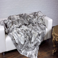 Real Natural Rabbit Skin Fur Blanket Rabbit Fur Real Rug Bed Decorative Blankets Rugs and Carpets For Living Room New Christmas
