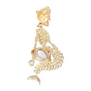 Image 3 - Tuliper Halloween Skull Brooches For Women брошь Broche Femme Mermaid Pin Crown Skeleton Crystal Party Unisex Gold Party Jewelry