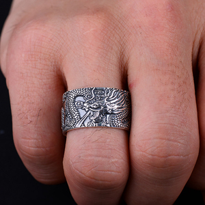Image 5 - BALMORA Real 999 Pure Silver Dragon Buddhism Sutra Open Rings For Men Stacking Ring Vintage Cool Punk Finger Ring Jewelry Gift