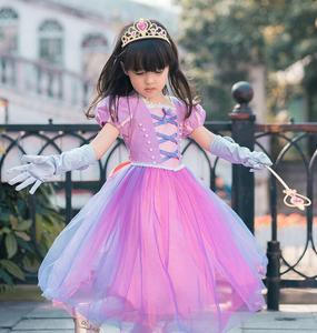 Image 4 - Girls Princess Rapunzel Costume With Hairpiece Braided Wigs Tangled Hair Costume for Girls Party Fancy Dress 3 10 Year 2019 New