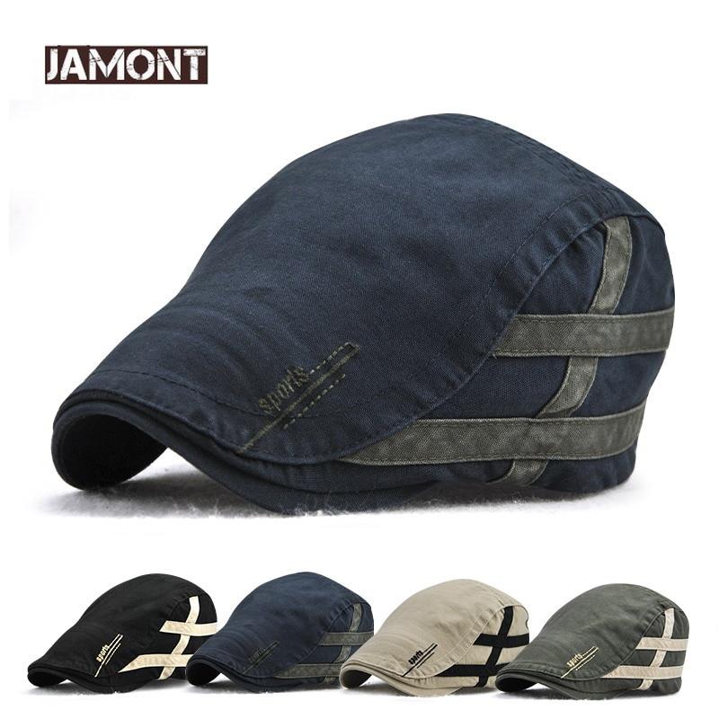 9b269d0871904 Jamont Summer Cotton Striped Newsboy Hat British Gentleman Duckbill Visor Golf  Peaked Caps Casual Boina Cap
