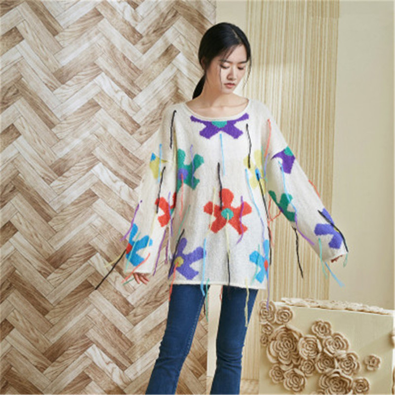 100% Hand Made Wool Thin Knit Women Tassel Oneck Contrast Color Floral H-straight Pullover Sweater One&over Size