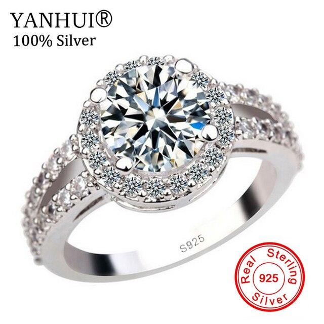 Yanhui 100 925 Pure Silver Engagement Ring S925 Stamp 2 Carat Cz Diamant Wedding Rings