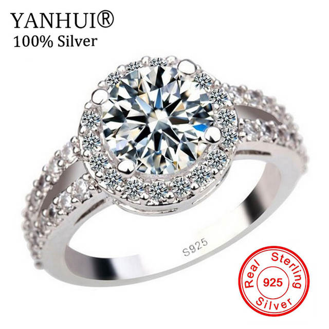 YANHUI 100% 925 Pure Silver Engagement Ring S925 Stamp 2 Carat CZ Diamant  Wedding Rings For Women Size 4 5 6 7 8 9 10 11 YR091