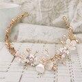 Folha de ouro Flor de Pérolas de Cristal Headband Headpiece Bridal acessórios para o Cabelo Do Casamento Barroco