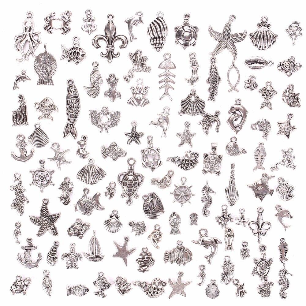 100pcs/set Lots Style Mix Vintage Silver Sea Animals Charm Pendants DIY Jewelry For Necklace Pendant Charms Beads Jewelry#240205 vintage beads crucifix pendant necklace set