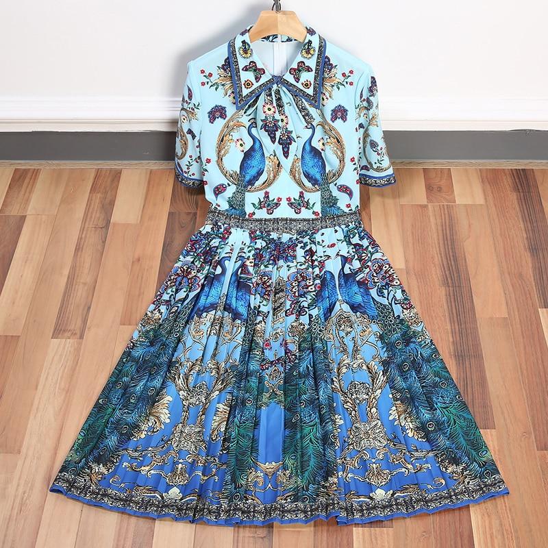 High Qualty New Runway Designer Dress 2018 Colorful Print Turn down Collar Short Sleeve Women Summer
