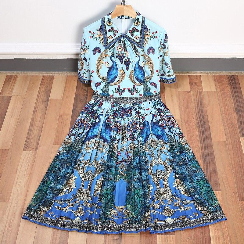 Alta calidad nuevo vestido de diseñador de pasarela 2018 estampado de colores cuello vuelto de manga corta mujeres verano dulce vestido-in Vestidos from Ropa de mujer    1