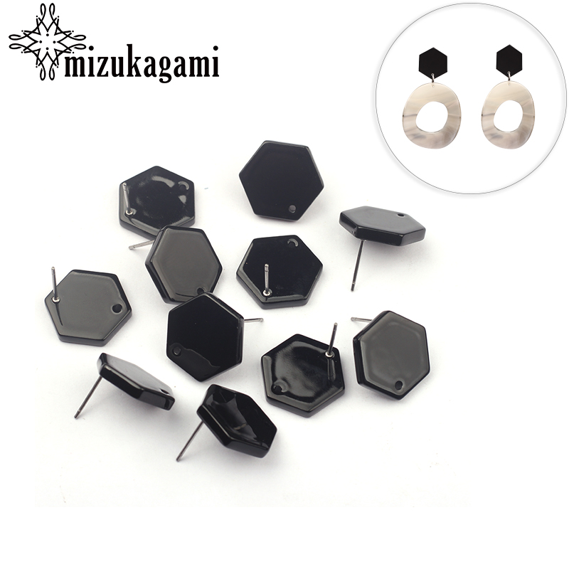 10pcs/lot Acetic Acid Resin Black Geometric Polygon Earrings Connector For DIY Earrings Jewelry Making Finding Accessories 23349 10pcs 46 36mm zinc alloy drop earrings hanging head earrings connector diy jewelry findings accessories wholesale