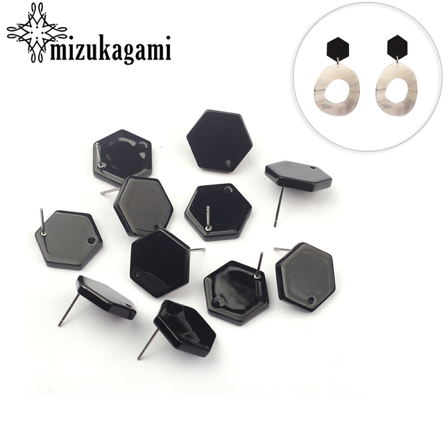 10pcs/lot Acetic Acid Resin Black Geometric Polygon Earrings Connector For DIY Earrings Jewelry Making Finding Accessories