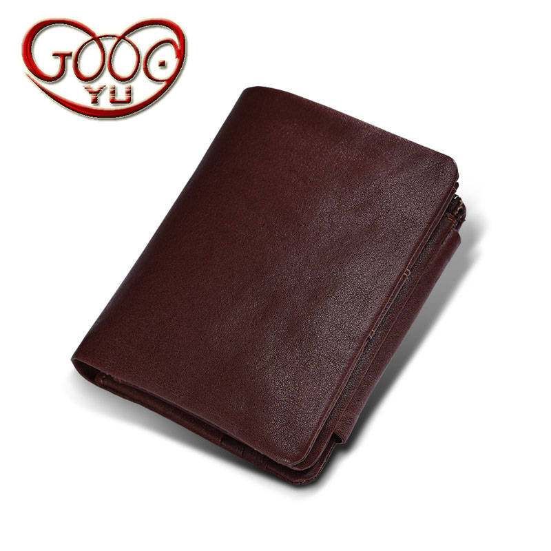 Korean version of the mens leather short 30% off wallet vegetable tanned leather vertical zipper buckle multi-card bit wallet