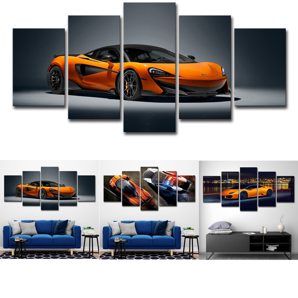 Lamborghini Orange Car Canvas Painting Wall Art Print 5 Panel Poster HD Landscape Modular Pictures for Living Room Home Decor in Painting Calligraphy from Home Garden