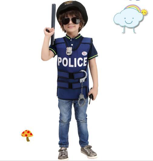 Halloween Costumes for Boys Cosplay Costume police vest boys uniform Children Kids Performance Clothing