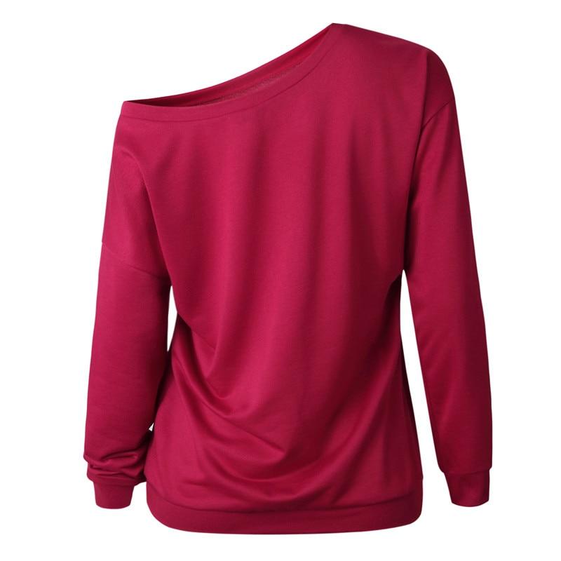 19 New Autumn Long Sleeve Women Casual Sweatshirts Off Shoulder Black Gray Tops Sweatshirts Streetwear Female Loose Sweatshirt 13