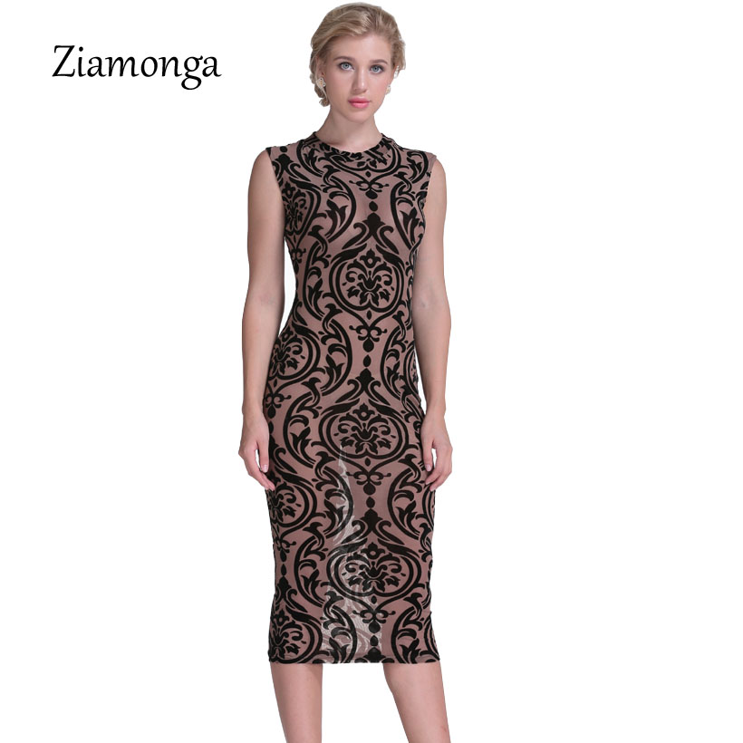 7a413e8521a Ziamonga Women Summer Dress 2017 New Floral Printed Sexy Mesh Bandage Dress  Elegant Lady Celebrity Party Prom Bodycon Dress