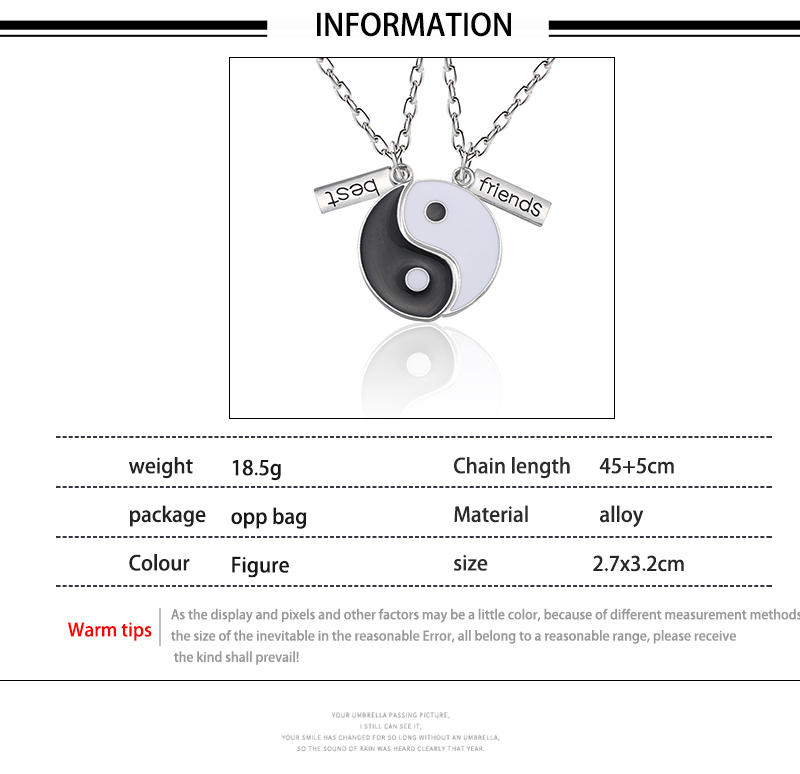 Best Friend Necklace Women Crystal Heart Tai Chi Crown Best Friends Forever Necklaces Pendants Friendship BFF Jewelry Collier 27