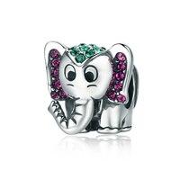 QELROE 925 Sterling Silver Pink Crystal Heart Square Charm Beads fit Original Pandora Bracelet DIY Beads Jewelry