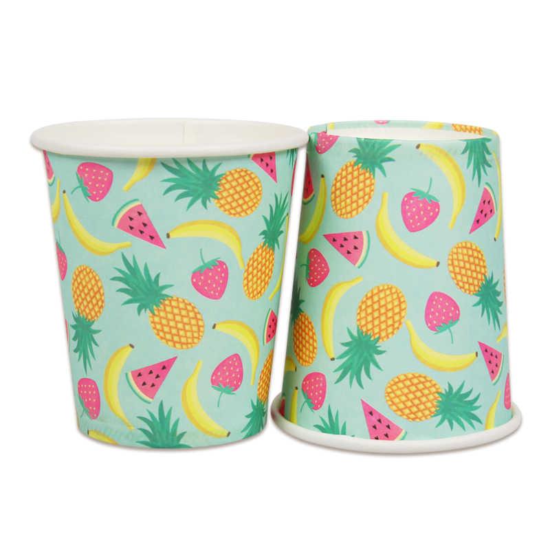 10 piezas de piña de la taza de papel boda bebé ducha feliz fiesta de cumpleaños decoración de fiesta de verano de los niños favor desechables taza