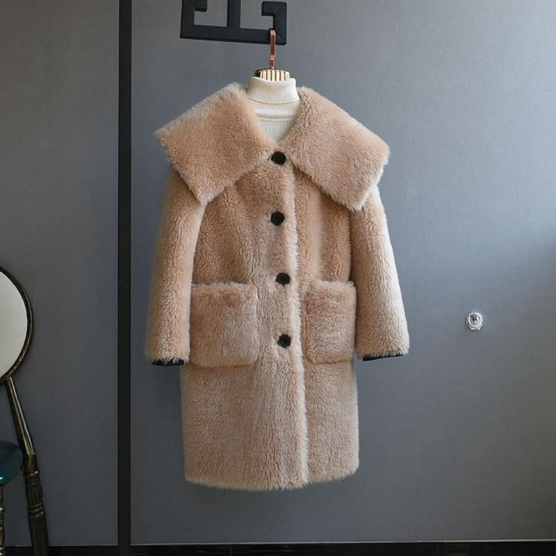 Long Agneaux Code Mode Femelle Vestes De Manteaux Pardessus Épais Grand Fourrure 2018 D'hiver Laine Chaud Femmes Lâche UYEBqwqf