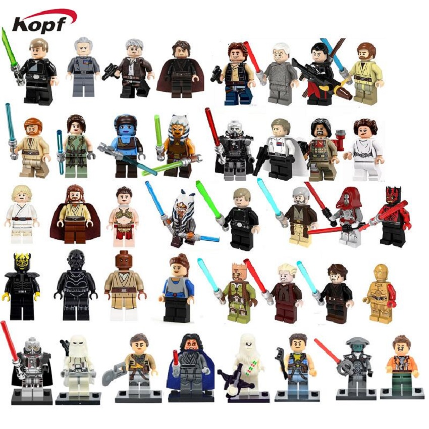 Star Wars  Asajj Ventress Luke Skywalker Grand Moff Tarkin Chirrut Imwe Han Solo Embo Jawa Building Blocks Kids Toys