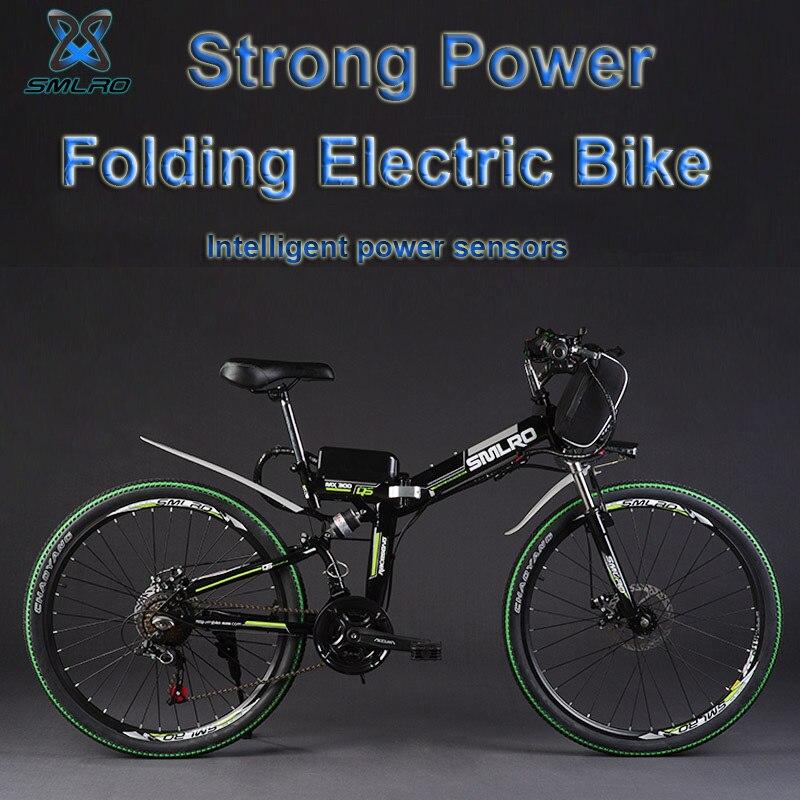 SMLRO 24″ 36/48V 300/500W Folding Electric Bicycle, Electric Mountain Bike, High-carbon Steel MTB E Bike