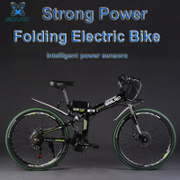 SMLRO 24 48V 350/500W Folding Electric Bicycle, Mountain Bike, High carbon Steel MTB E Bike, Front & Rear Suspension