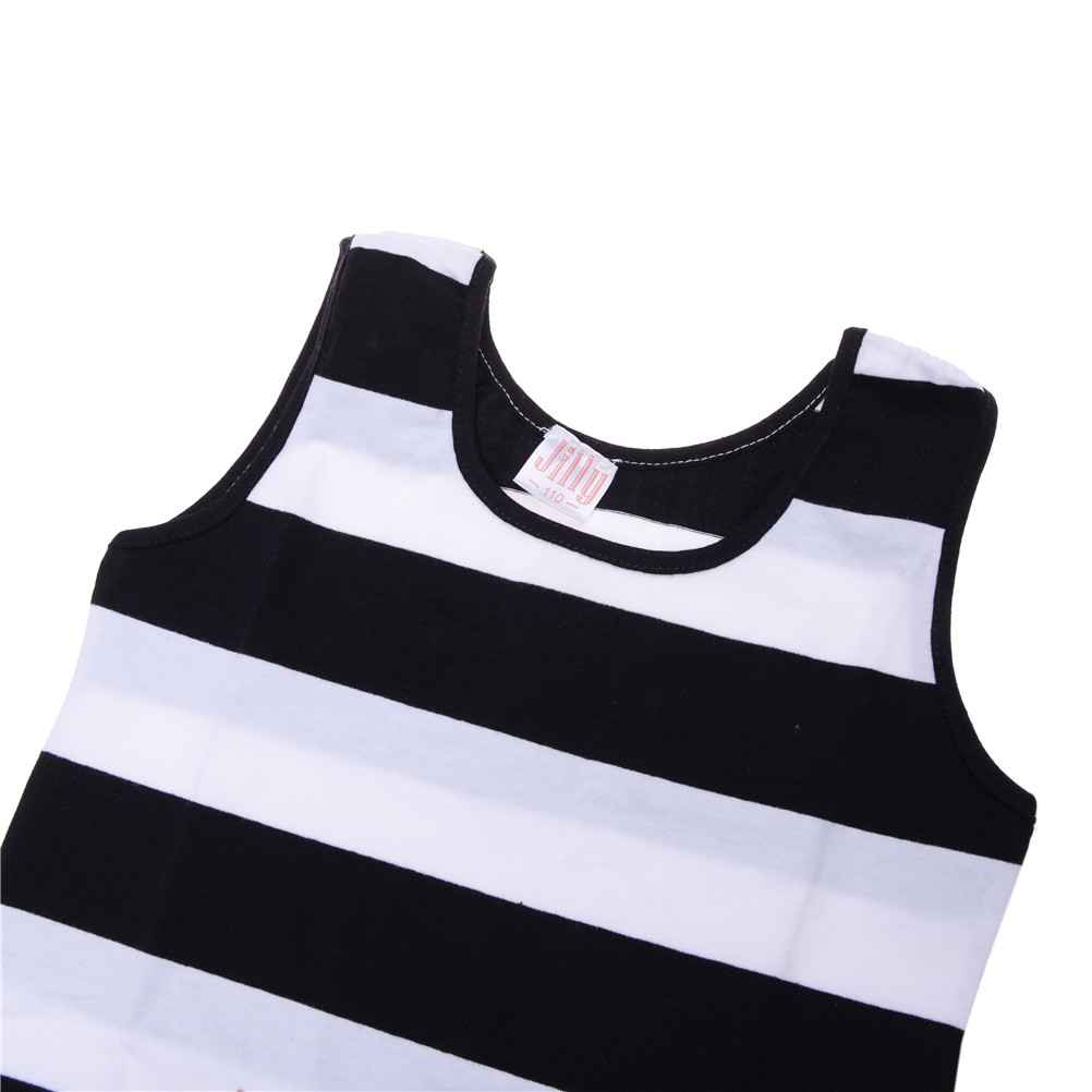 Children Girls' Clothing Black And White Stripes 100% Cotton Summer Girl Dress 3-14 Kids Vest Dresses for Teenage Girls Hot Sale