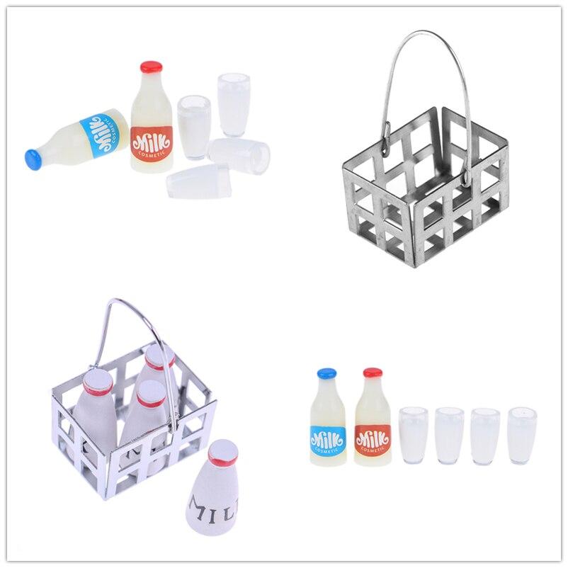 Milk Bottles+milk Cup Breakfast Dollhouse Kitchen Accessories 1:12 Miniature Food Metal Coffee Wine Bread Basket
