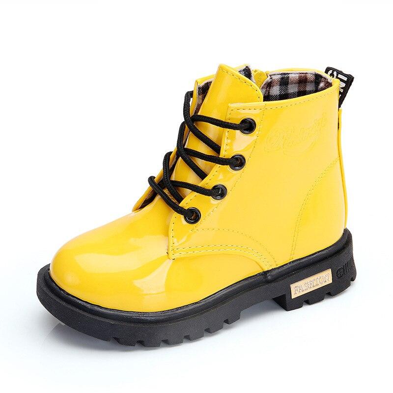 Новинка 2017 года зимняя детская Обувь для девочек Обувь для мальчиков из искусственной кожи водонепроницаемые ботинки «Martin» дети Снегоступ...