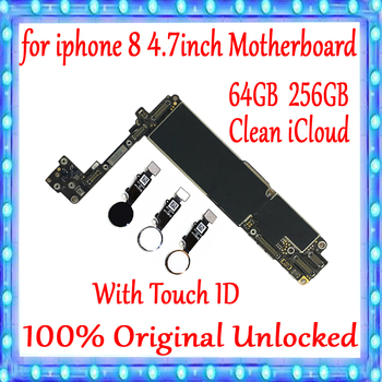For iPhone 8 4.7inch Motherboard with Touch ID/Without Touch ID , 100% Original Unlocked For iPhone 8 MainBoard 64GB / 256GB